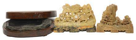 石硯(附木盒) 連青田石擺件二件 (共3件)