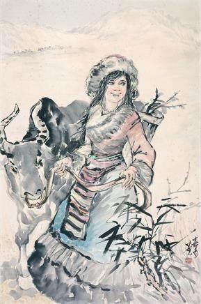 莊嘉禾  藏族姑娘(刊於《香港‧廈門書畫家作品展》)