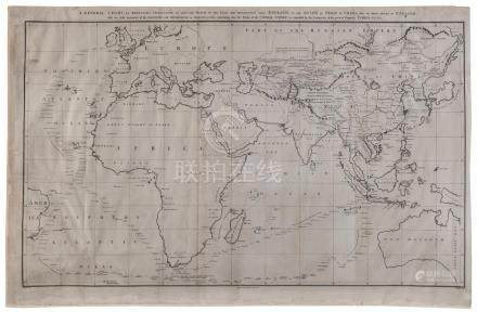 "JOHN BARROW [1764 - 1848] ""A General Chart on Mercator's Pro"