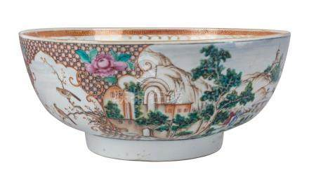 A Chinese famille rose porcelain bowl, 18th century, 29cm di