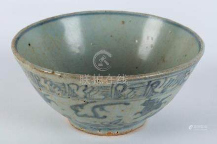A Chinese blue and white ceramic bowl with prancing horse mo