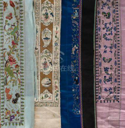 Chinese silk altar cloth and assorted embroidered sleeve and