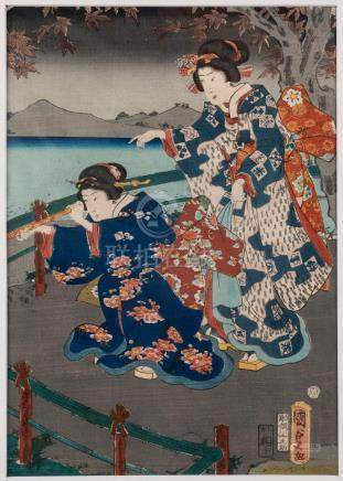 KUNISADA II (1823-1880), Autumn: Charming Genji under the mo