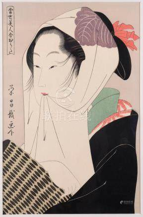 EISHO (active late 18th century), Beauty with a scarf, Japan