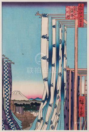Two Japanese woodblock prints, 33 x 22cm and 36 x 24cm