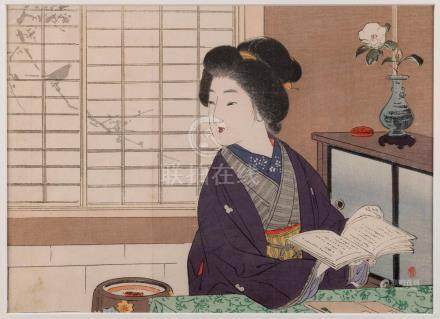 Three Japanese portrait woodblock prints of women, the large