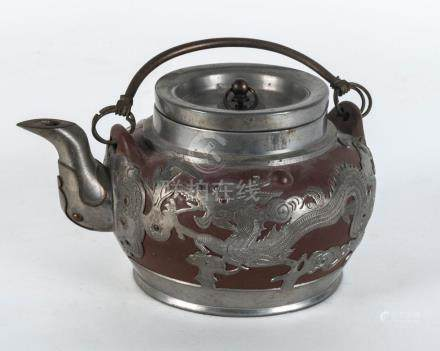 Yi-xing ware Chinese teapot mounted in pewter set with a coi
