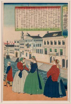 UTAGAWA YOSHITORA (active 1840-1880), City of Paris, France,