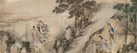 Five assorted Chinese paintings on silk, 19th and 20th centu