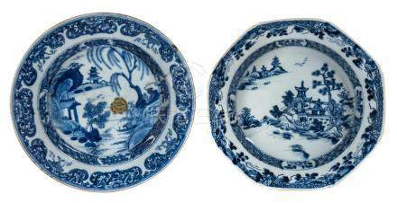 Two Chinese blue and white porcelain plate with pagoda decor