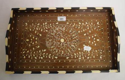 An Indian inlaid rosewood tray, decorated foliage, 46 cm wide