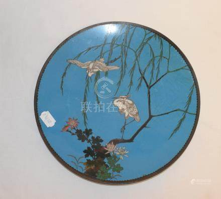 A Japanese cloisonné charger, decorated birds and foliage, slight damage, 30.5 cm diameter, four