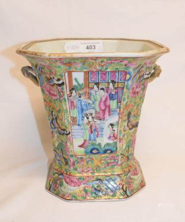 A late 19th century Chinese famille rose vase, of tapering square form, lacks cover, 20 cm high, and