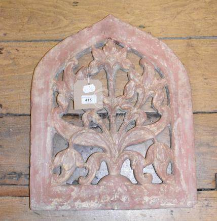 A Mughal sandstone panel, of lancet form, with floral decoration, 41 cm wide