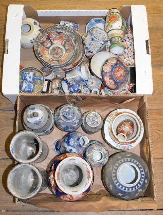 Assorted Chinese and Japanese ceramics, mostly damaged (2 boxes)