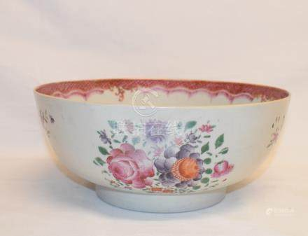 A Chinese famille rose bowl, restored, 26 cm diameter, a blue and white plate, a meiping vase, and