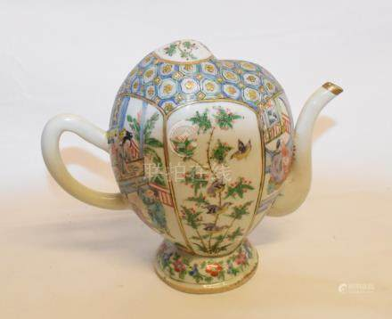 A Chinese famille verte Cadogan tea or wine pot, of peach form, decorated figures and foliage,