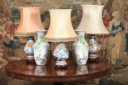 A pair of Chinese Imari style porcelain pear shaped vases