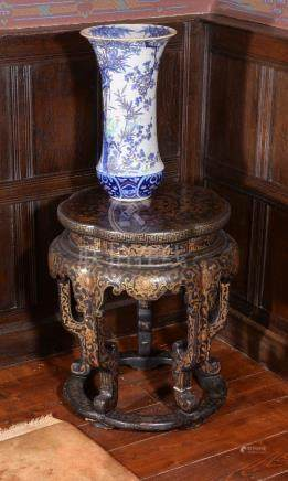 Two Chinese black lacquer and gilt decorated stands