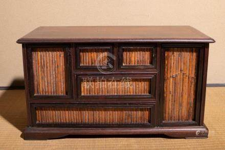 A Rosewood Bamboo Cabinet
