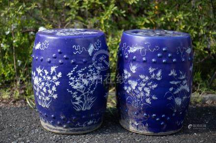 A Pair of Chinese Blue-Glazed Porcelain Stools