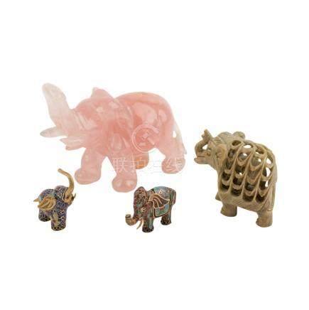 Konvolut: 4 Elefanten-Figuren.1 aus Rosenquartz, H 10cm/1 aus Speckstein, H 6,5 cm/2 aus Cloissonné,