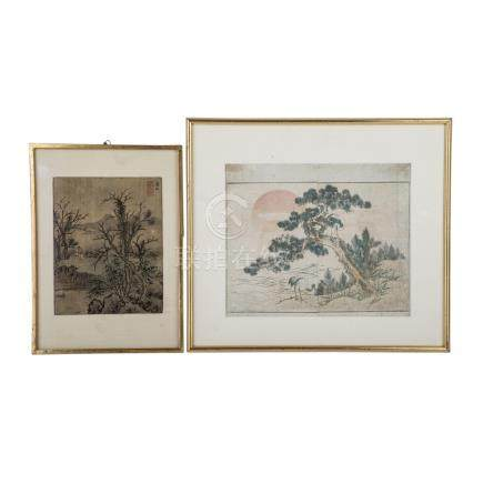 Konvolut: 2 Bilder, ASIEN, 20. Jh..1 Seidenmalerei, gerahmt, CHINA, 33,5x24 cm/1 Farbholzschnitt,