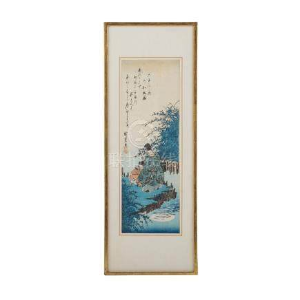 "HIROSHIGE I., ANDO (1797-1858)Blatt 2 aus der Serie ""Mu Tamagawa"" (""Die sechs Perlströme"")."