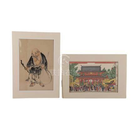 Konvolut: 2tlg.: Malerei und Farbholzschnitt, JAPAN, 1. Hälfte 20. Jh..1 Malerei mit Darstellung