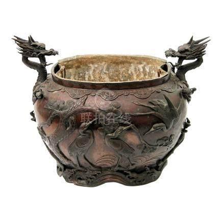 Kübel aus Bronze. CHINA, 19. Jh.ovale Form mit paar seitlichen Handhaben in Form von plastischen