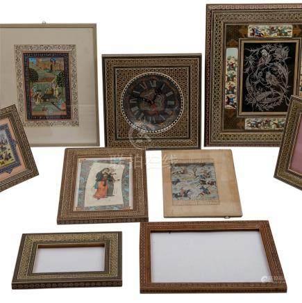 Konvolut: 10 Teile mit Khatam Kari Holz Intarsien, ISFAHAN/IRAN, 20. Jh..4 Malereien, 1