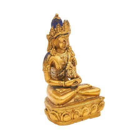 Buddha Amitayus. Feuervergoldete Bronze SINOTIBETISCH, 20. Jh..In klassischer Darstellung: im