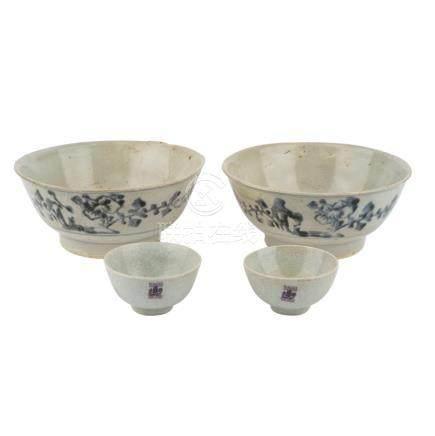 Konvolut: 4tlg.: TEK SING TREASURES/CHINA, vor 1822.2 Rundschalen mit leicht ausgestelltem
