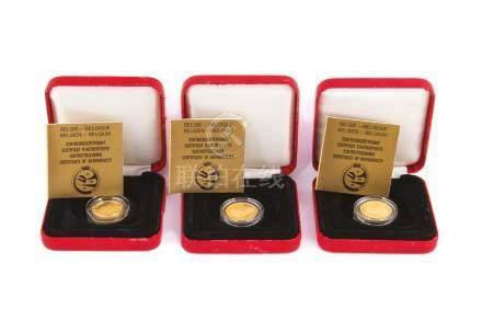 BELGIQUE, lot de 3 médailles en or,Philippe Filip 1830 - 1990.Dans leurs écrin