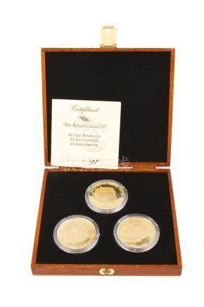 BELGIQUE, Collection de la Couronne,lot de 3 médailles en or.60e anniversaire,