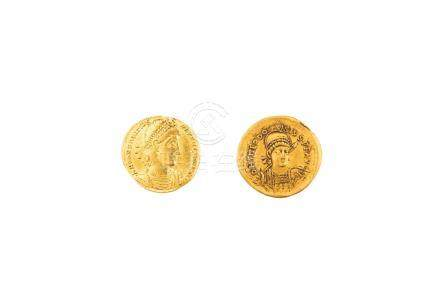 EMPIRE ROMAIN, lot de 2 pièces :Constance II (337-361), solidus, Thessalonique.