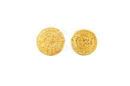 FATIMIDES, lot de 2 pièces identiques :al-Hakim (996-1021), dinar, AH 390-401.U