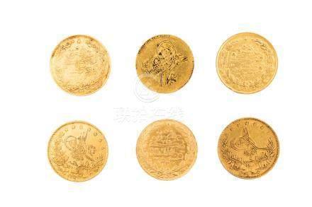 EMPIRE OTTOMAN, lot de 6 pièces :Abdul Mejid (1839-1861), 100 piastres AH 1255/