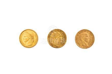 Lot de 3 pièces étrangères:GRECE, 20 drachmes de 1884.SUISSE, 20 francs de 1883