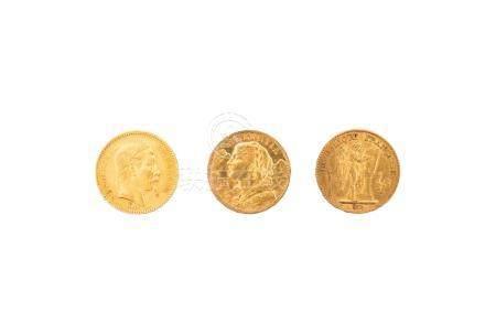 Lot de 3 pièces :FRANCE, Napoléon III, 20 francs 1862 BB, Strasbourg.FRANCE, T
