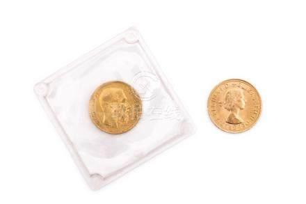 Lot de 2 pièces :BELGIQUE, Léopold II, 20 francs 1867.GRANDE-BRETAGNE, Elisabet