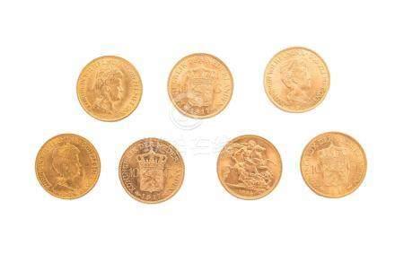 Lot de 7 pièces en or:6 Nederland 1913 x 1 et 1917 x 5.1 Elisabeth II 1964.