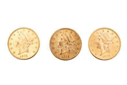 ETATS-UNIS, lot de 3 pièces de 20 dollars, 1895 S, San Francisco. TB.