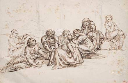 Louis CABAT (1812 – 1893) Réunion de personnages Encre de chine et mine de plom