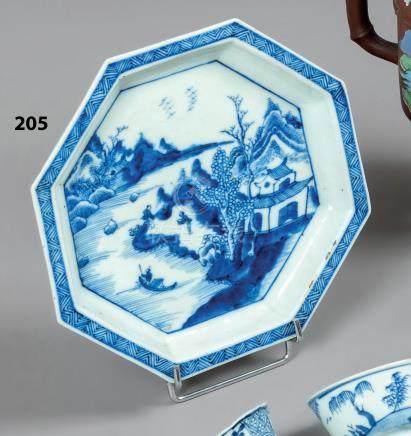 CHINE COUPE octogonale en porcelaine décorée en bleu sous couverte d'un paysage
