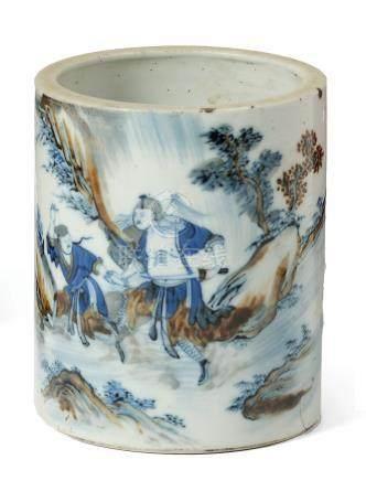 CHINE  Porte-pinceaux en porcelaine décorée en bleu et rouge brun sous couverte