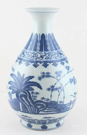 A Chinese blue and white vase, probably early 20th century , six characcter mark to base