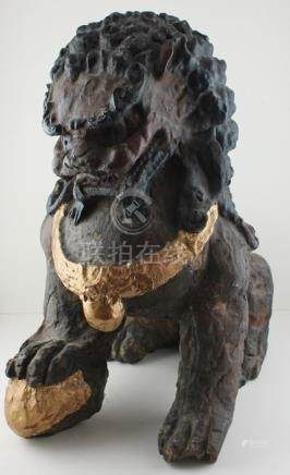 A pair of large Chinese polychrome 18th cent Fo Dogs