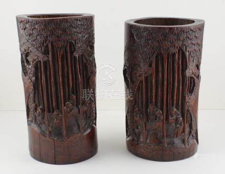 Two early 20th cent carved Chinese bamboo brush pots