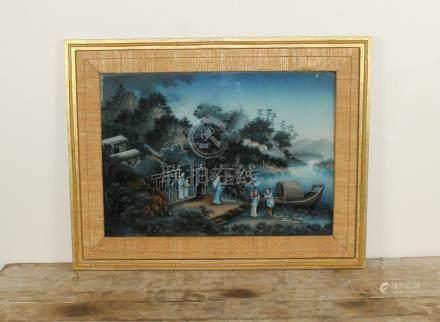 A fine Pair of Qianlong PERIOD Chinese reverse glass landscape studies, Bourlet labels Verso